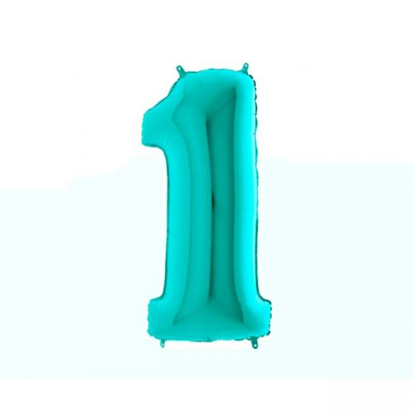 Globo nº 1 color azul tiffany de 66cm -