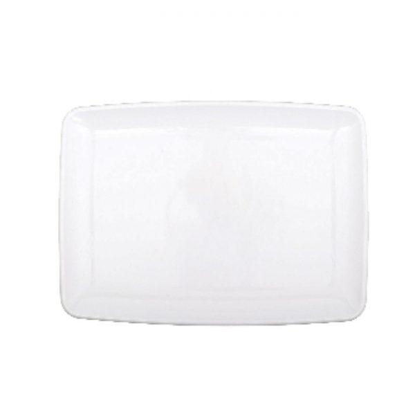 Fuente rectangular de plástico blanca de 27cm de largo -