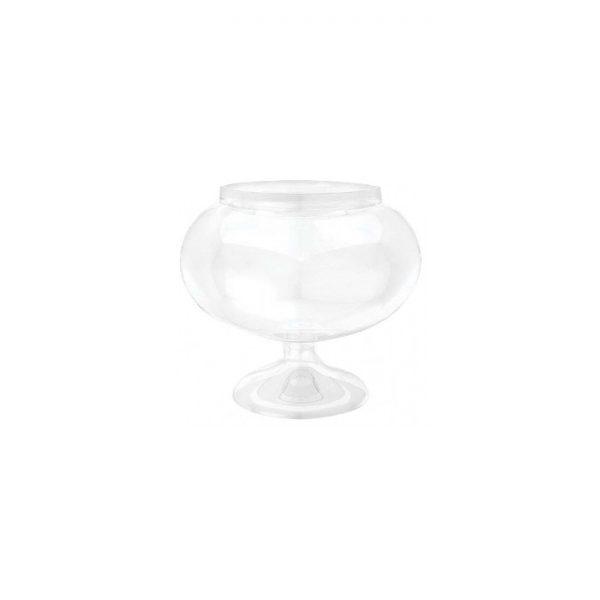Copa para caramelos con pedestal corto en plástico transparente de 15cm de alto -