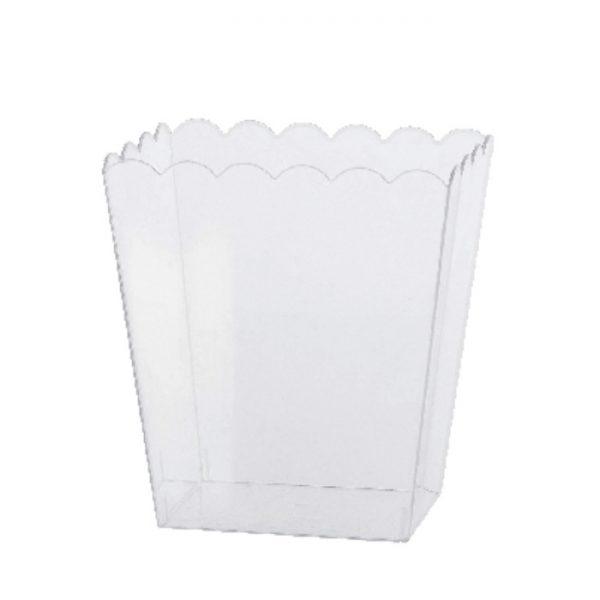 Tarro rectangular festoneado de plástico transparente de 15cm -