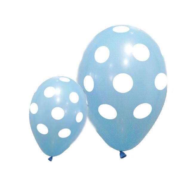 Globos pastel AZUL CLARO con lunares blancos de 28x32 (Bolsa de 6 globos) -