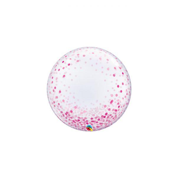 """Globo 24"""" Deco Bubble -Pink Confetti Dots -"""
