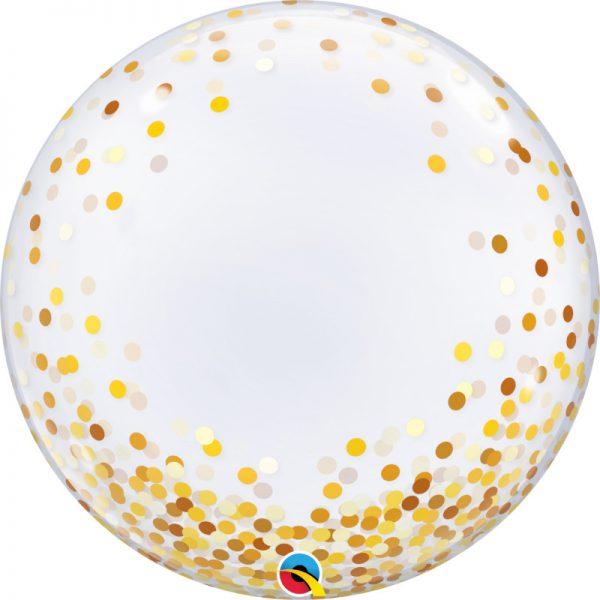 """Globo de 24"""" Deco Bubble confeti dorado - 18 cumpleaños"""