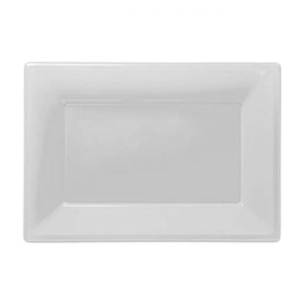 Fuente transparente de plástico rectangular 23cm x 32cm -