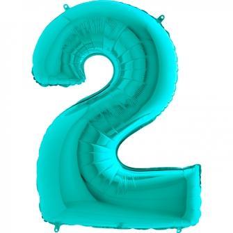 Globo nº 2 color azul tiffany de 66cm - Globos cumpleaños de adulto