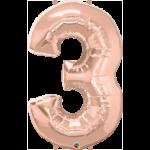 Globo numero 3 -rose-gold-1m