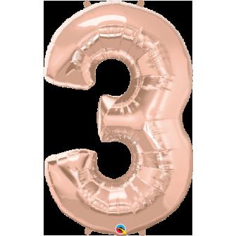 Globo nº 3 color rosa gold de 100 cm - Globos cumpleaños de adulto