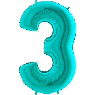Globo nº 3 color azul tiffany de 66cm - Globos cumpleaños de adulto