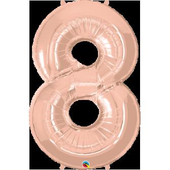 Globo nº 8 color rosa gold de 100 cm - Globos cumpleaños de adulto