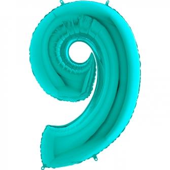 Globo nº 9 color azul tiffany de 66cm - Globos cumpleaños de adulto