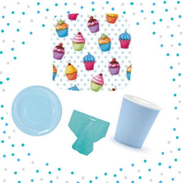 Set de menaje azul (16 servicios) - Menaje Baby Shower