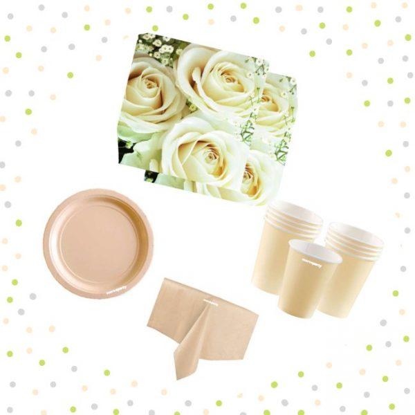 Set de menaje crema (16 servicios) - Baby shower niña