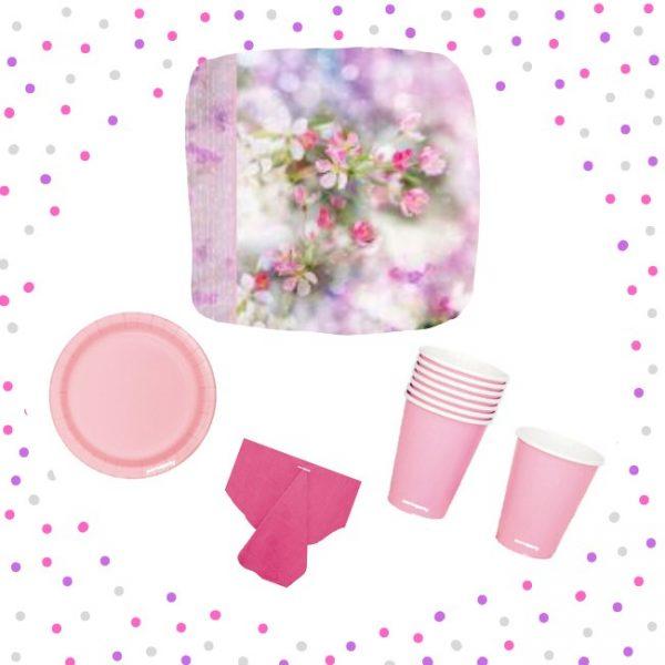 Set de menaje Rosa (16 servicios) - Fiesta princesas