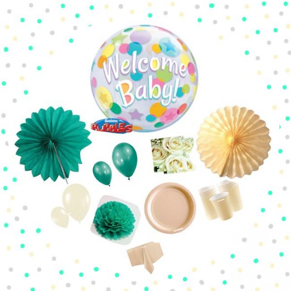 "Kit Baby Shower ""Welcome Baby"" verde aguamarina y crema -"