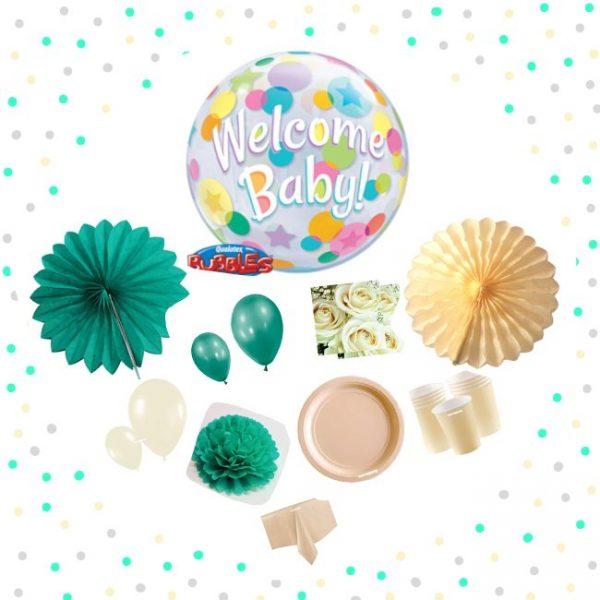 "Kit Baby Shower ""Welcome Baby"" verde aguamarina y crema - Baby Shower verde"