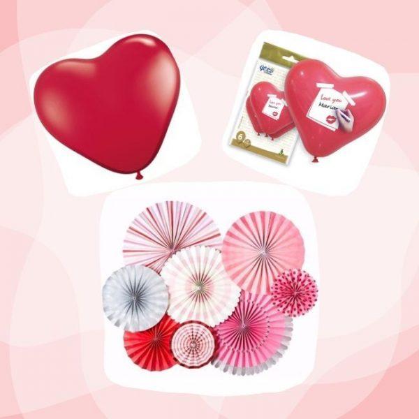 Kit SAN VALENTIN conjunto abanicos y globos de corazón personalizables y lisos -