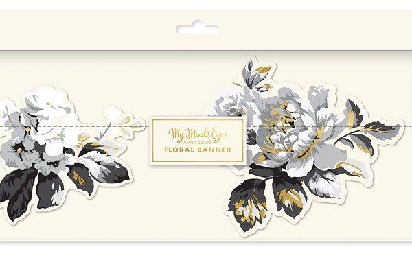 Guirnalda banners de flores grises de 1,9m - Bodas de plata