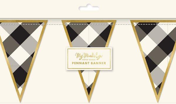 Guirnalda de triángulos de cuadros grises y blancos con ribete dorado -