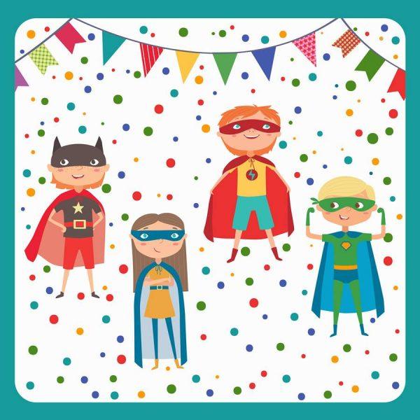 """Servilletas, 3-capas de 33 cm x 33 cm """"Superhero"""" - Cumpleaños mixto"""