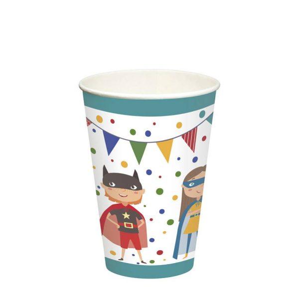 """Vaso de cartón 0,2 l Ø 7 cm · 9,7 cm """"Superhero"""" - Cumpleaños mixto"""
