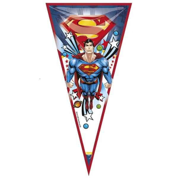 Bolsa cono para chuches Superman de 20x40cm - Fiesta superhéroes