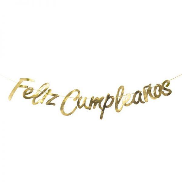 """Guirnalda letras """"Feliz Cumpleaños"""" oro - FIESTA PIRATA"""