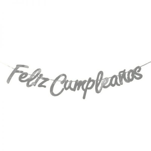 """Guirnalda letras """"Feliz Cumpleaños"""" plata - Artículos cumpleaños infantil"""
