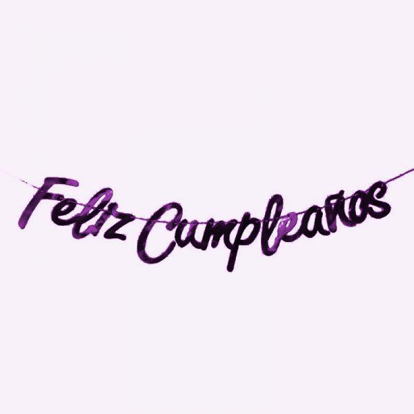 """Guirnalda letras """"Feliz Cumpleaños"""" malva - Artículos cumpleaños infantil"""