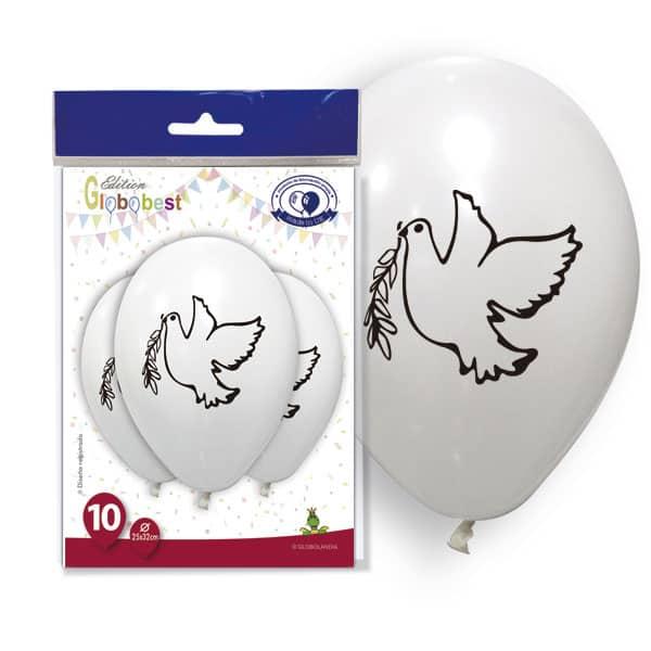 """Bolsa de globos blanco """"Paloma"""" 10uds de 25x32 - Globos de boda"""