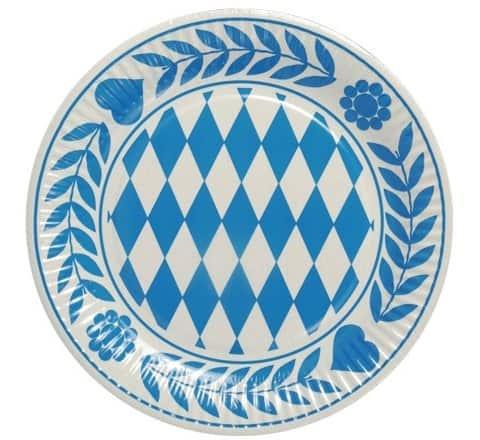 Platos Cartón Decorados Baviera Azul Redondos Ø 23cm - Fiesta Oktoberfest