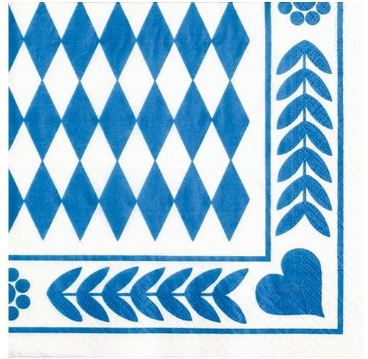 Servilleta Papel Decorada Baviera Azul 33 x 33 cm - Fiesta Oktoberfest