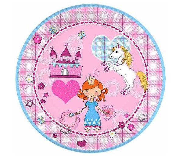 Platos Fiesta Princesas de cartón de Ø23cm - PLATOS