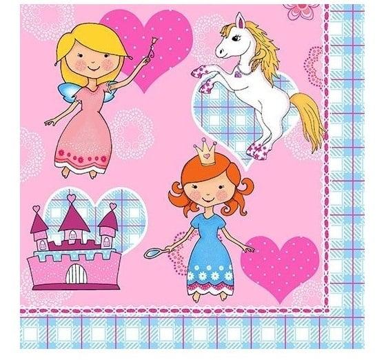 Servilletas Fiesta Princesas de papel  33x33 cm - SERVILLETAS, MANTELES Y CUBIERTOS