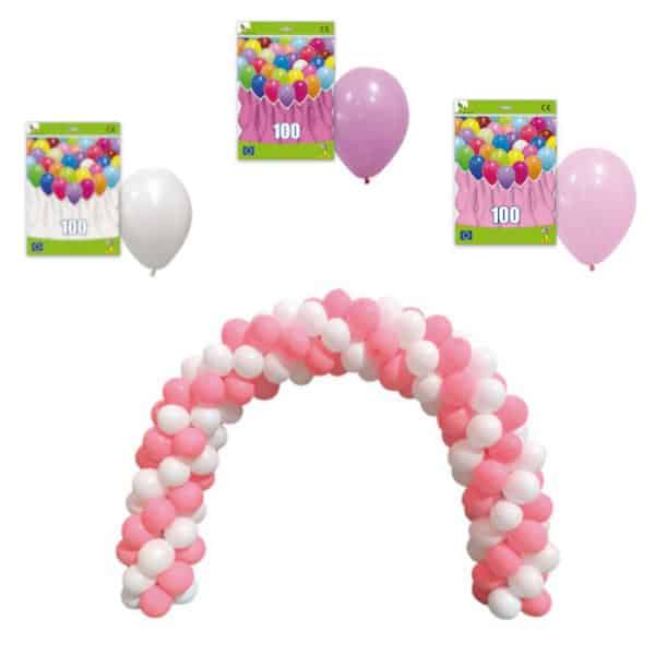 Arco con 150 globos color rosa y blanco - Decoración