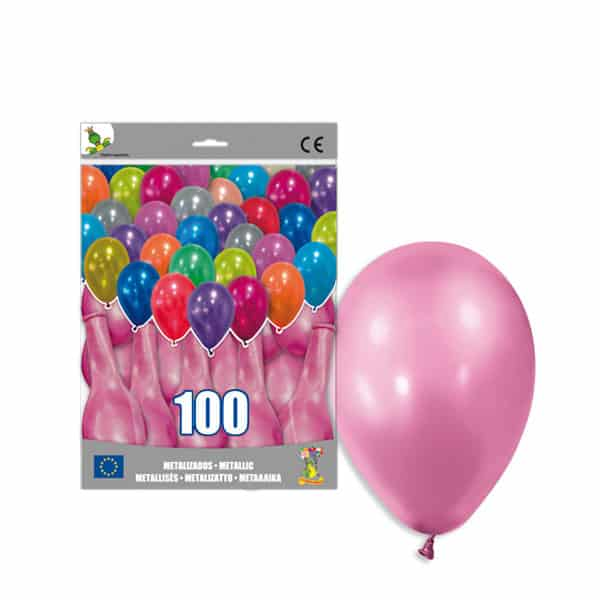 100 Globos metalizados color ROSA CLARO -