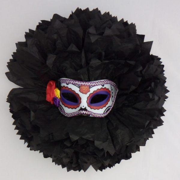 Decoración Halloween flor negra con máscara - Escaparate Halloween
