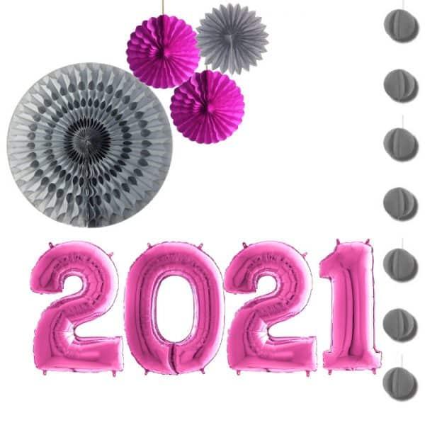Pack 2021 globos foil color fucsia de 80cm - Decoración Navidad