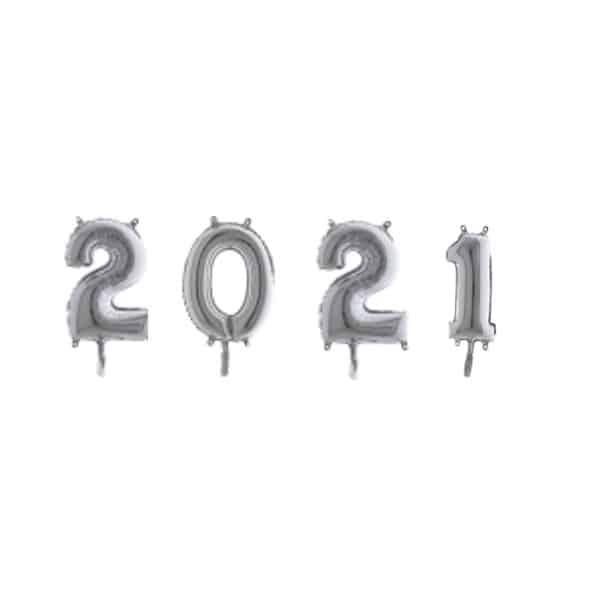 Pack 2021 globos de foil color plata de 80cm - Decoración Navidad