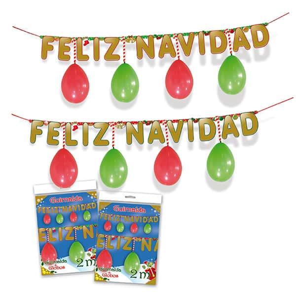 Guirnalda Feliz Navidad con globos de 200cm - Decoración Navidad