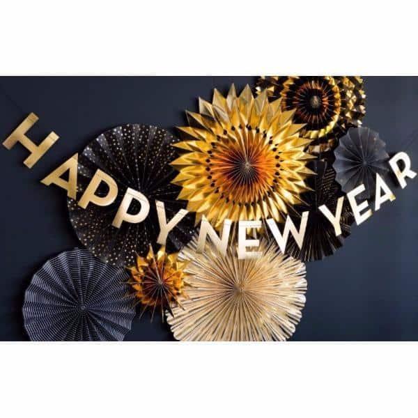 Guirnalada  Happy New Year  de letras doradas -