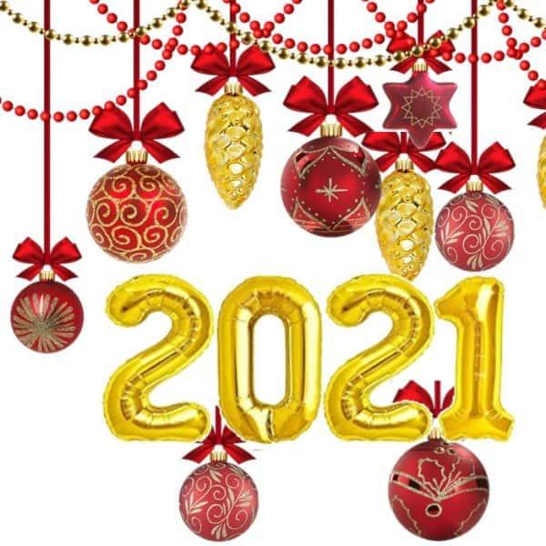 Pack de números en globos 2021 de 80cm - Decoración Navidad