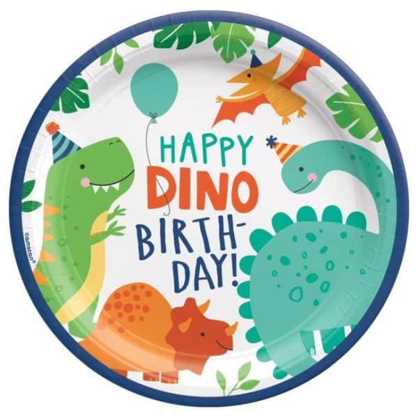 Plato de cartón Dinosaurio de 23cm -