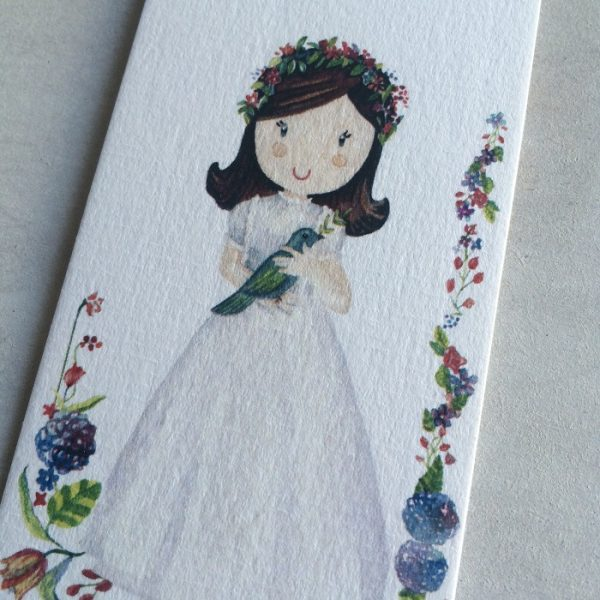 Recordatorio 1ª Comunión marcapáginas niña con flores -