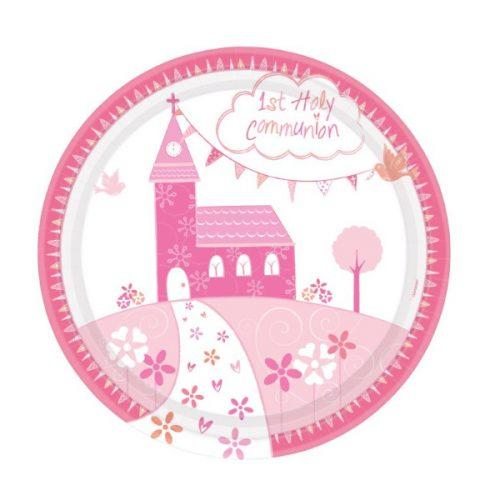 Plato de cartón Mi primera comunión rosa de 23cm -
