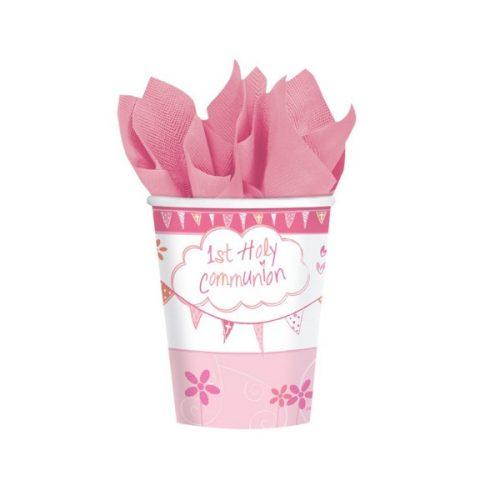 Vasos de cartón Mi primera comunión rosa (6 vasos) -