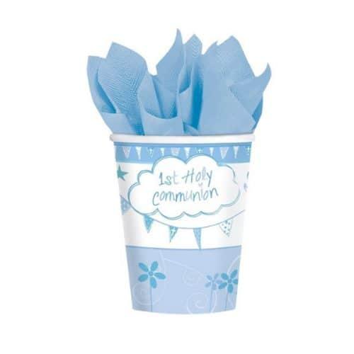 Vasos de cartón Mi primera comunión azul (6 vasos) -
