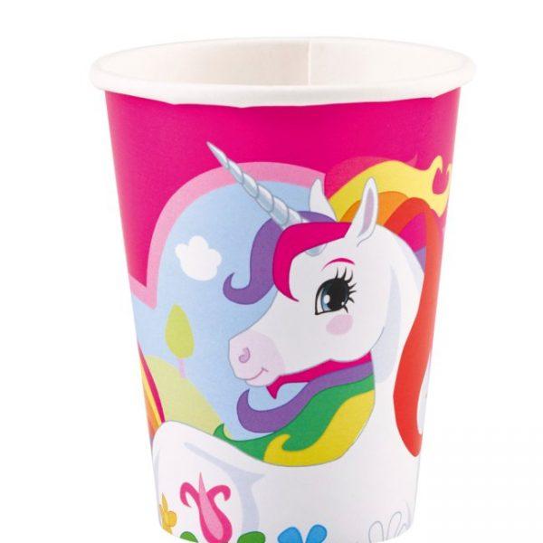 Vaso cartón UNICORNIO de 266 ml rosa -