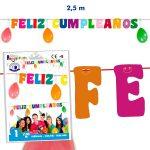 """Guirnalda """"Feliz Cumpleaños"""" colores fluor de 2,5m -"""