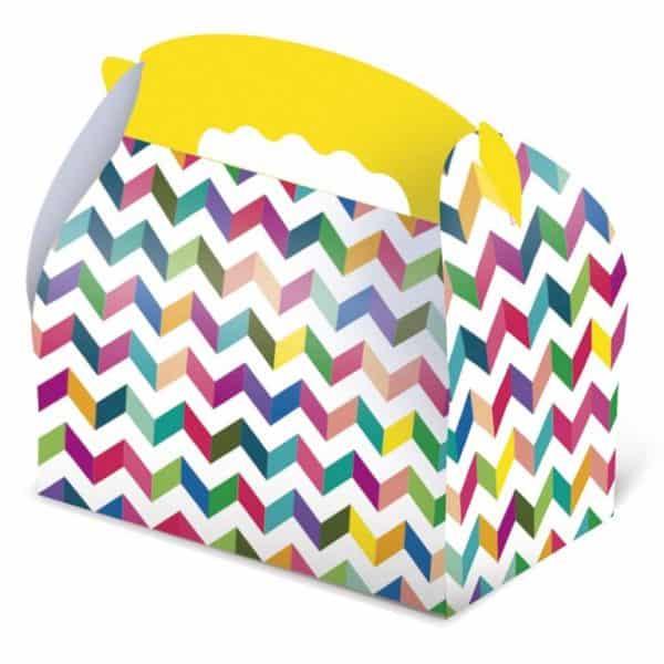 Caja de cartón para chuches rayas multicolor -