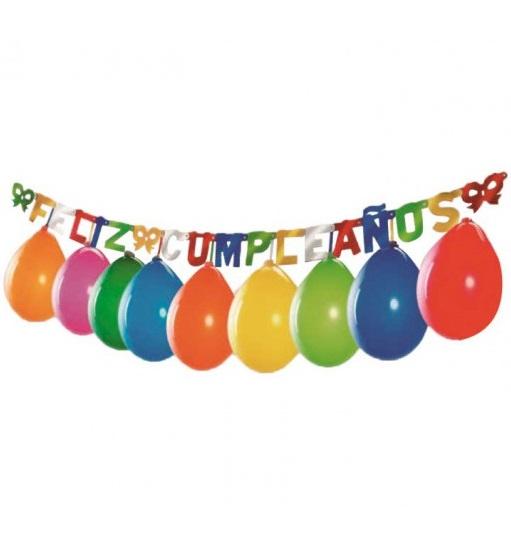 """Guirnalda """"Feliz Cumpleaños"""" colores metalizados de 2m -"""